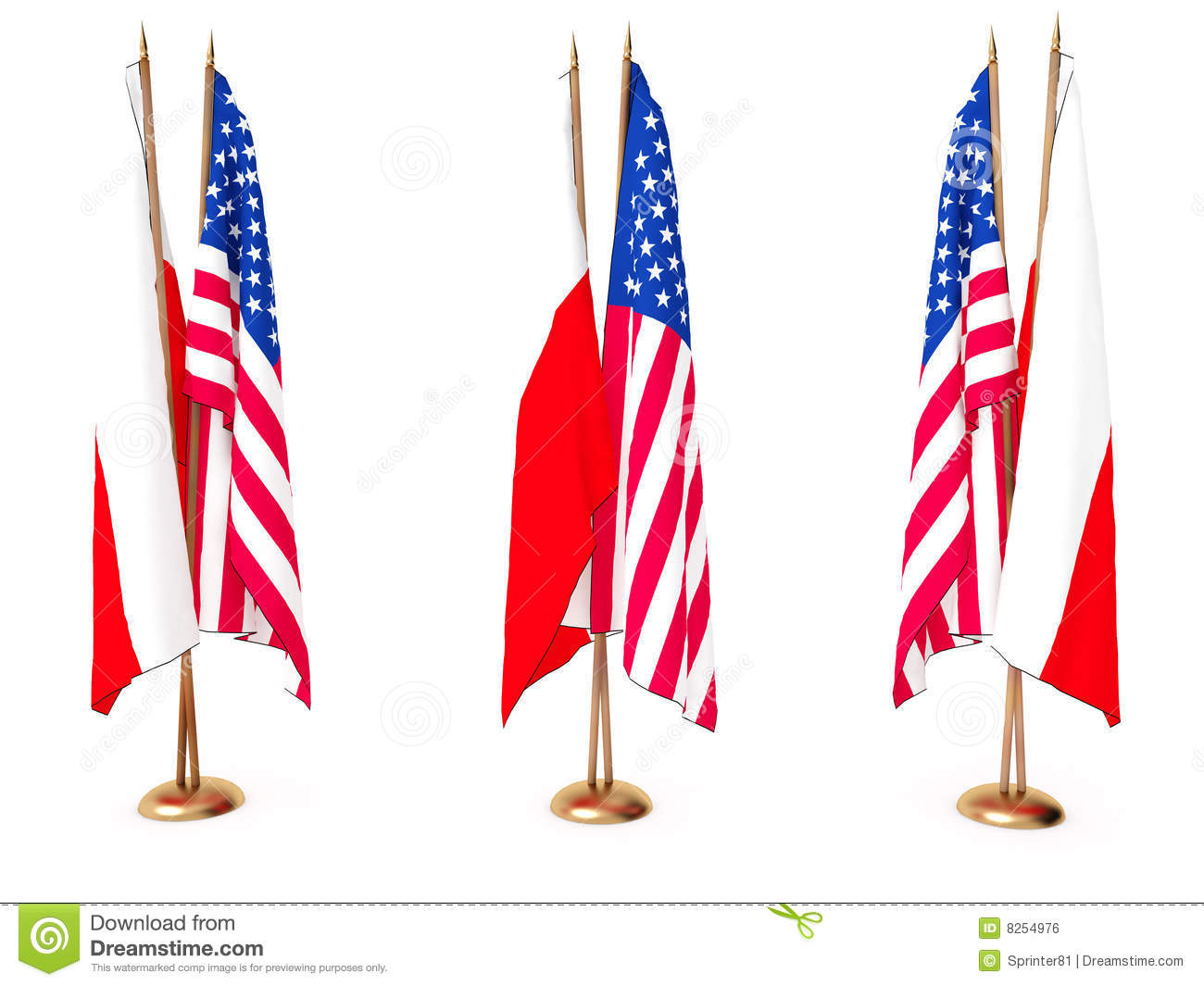 flags of poland polish and the united state royalty free stock