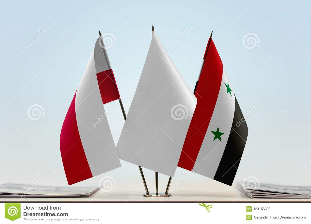 Flags of Poland and Syria