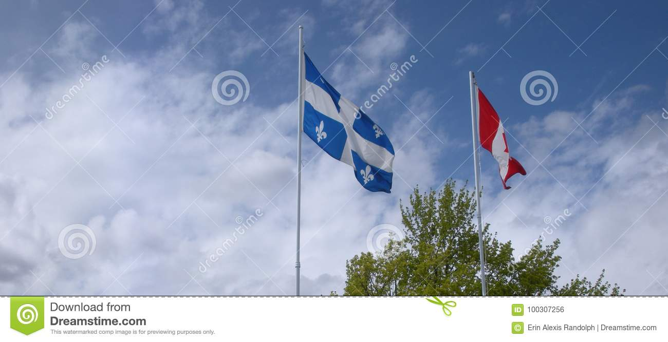 Flags of Quebec and Canada