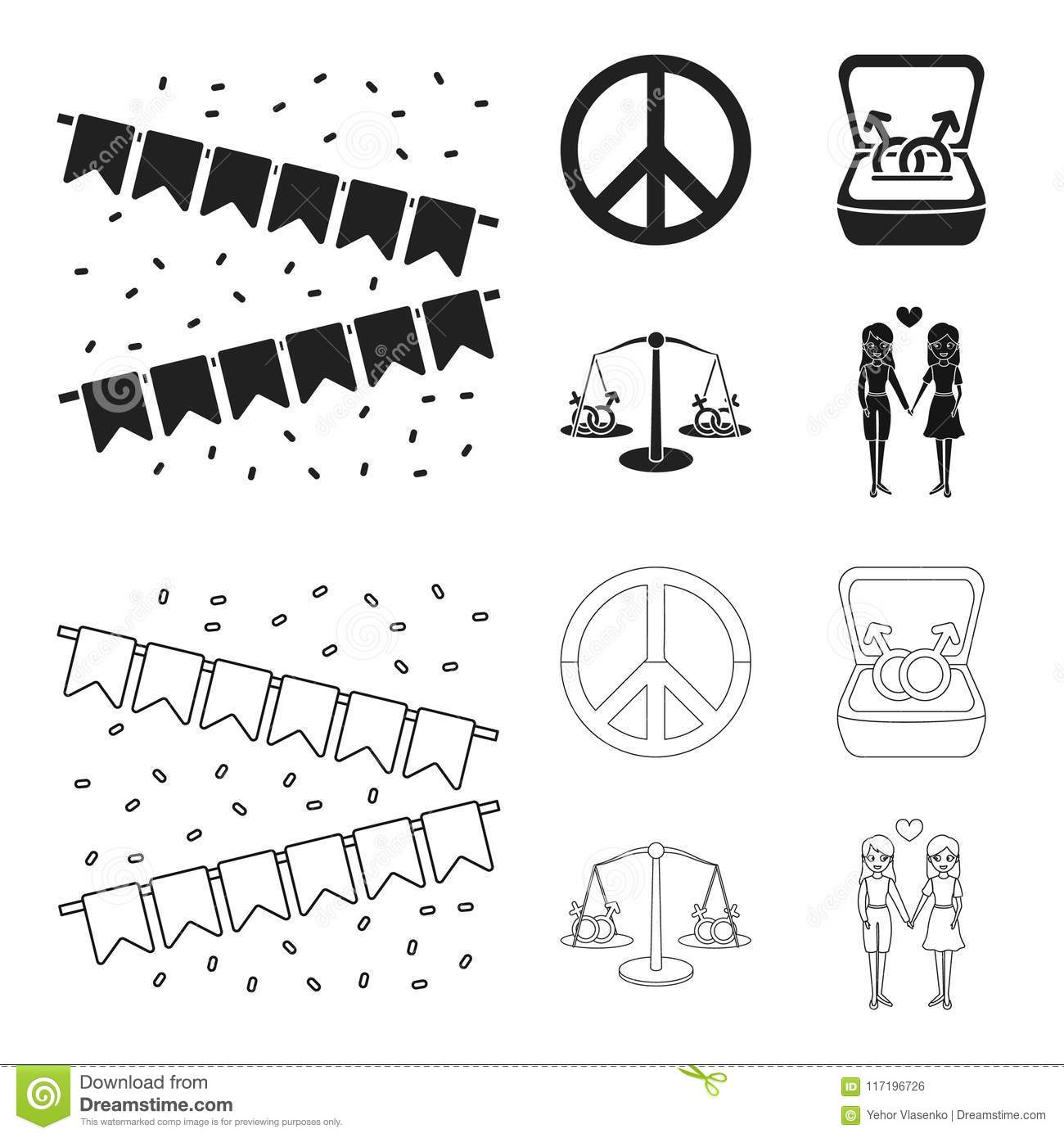 Flags, rainbow, emblem, rings. Gay set collection icons in black, outline  style vector symbol stock illustration web.