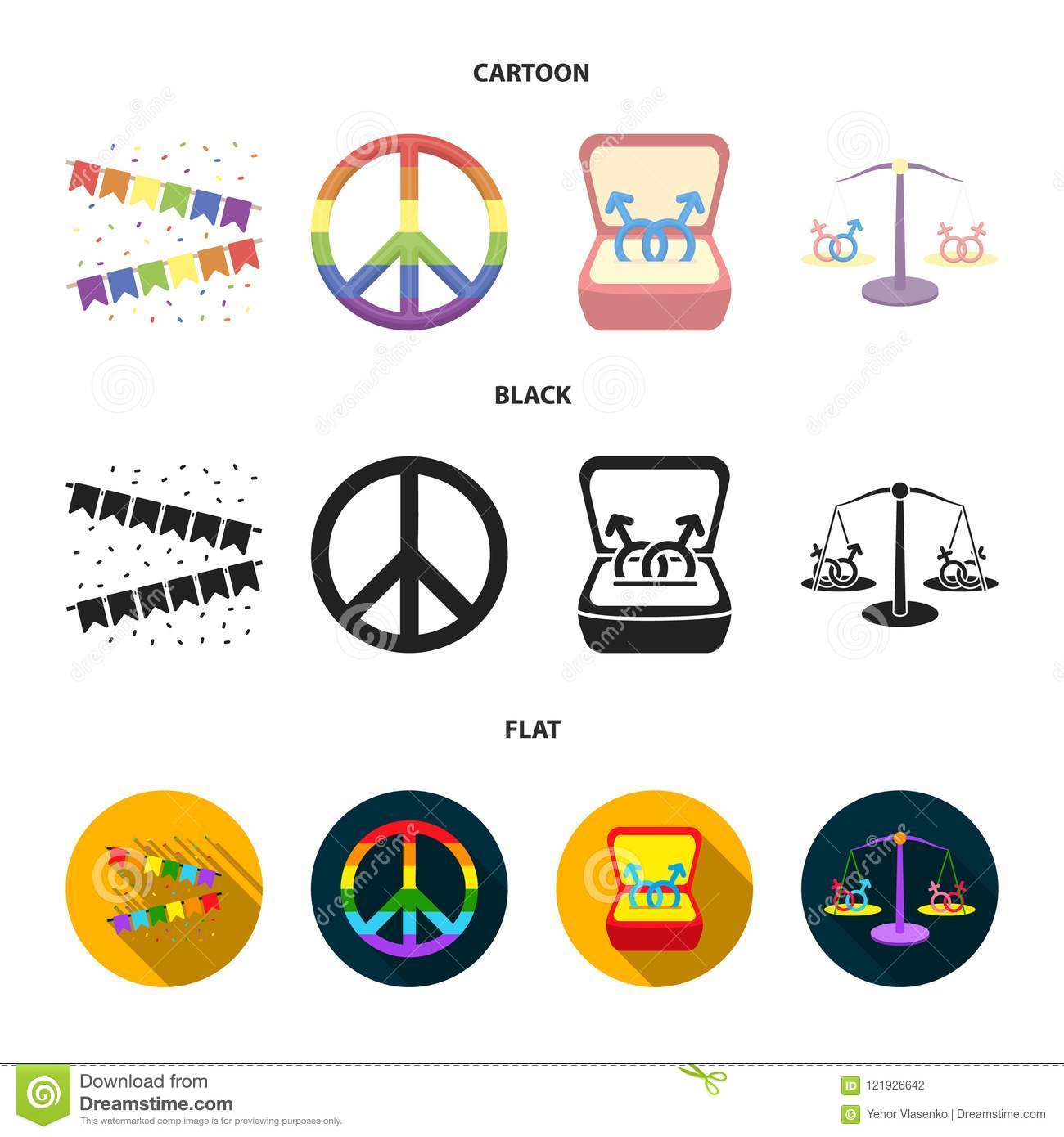 Flags, rainbow, emblem, rings. Gay set collection icons in cartoon, black,  flat style vector symbol stock illustration web.