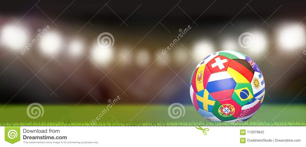 Flags soccer football ball 3d rendering