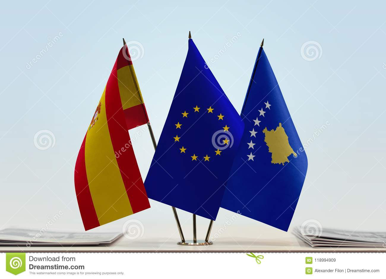 Flags Of Spain European Union And Kosovo Stock Image Image Of