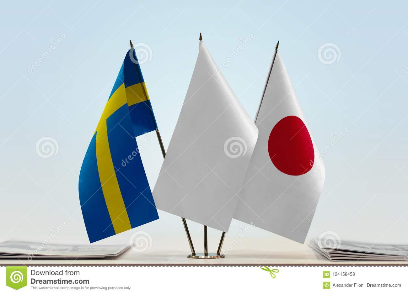 Flags of Sweden and Japan