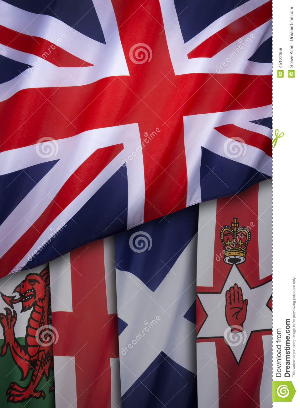 flags of the united kingdom of great britain stock photo image