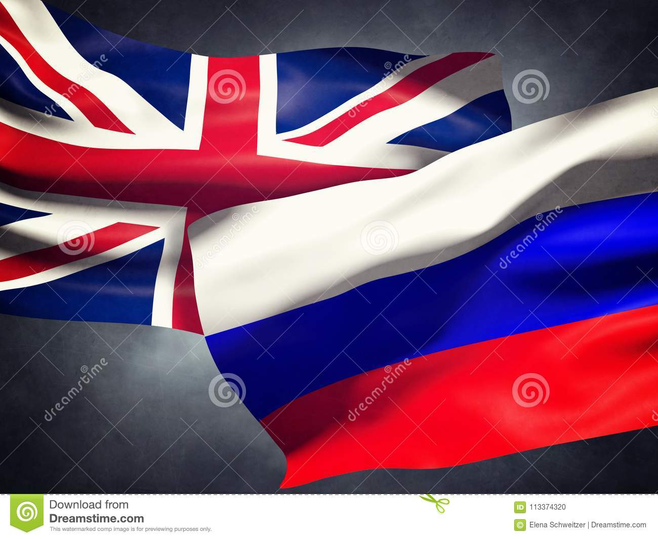 Flags United Kingdom of and Russia