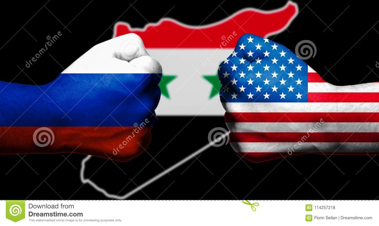Flags Of The United States And Russia Painted On Two ...