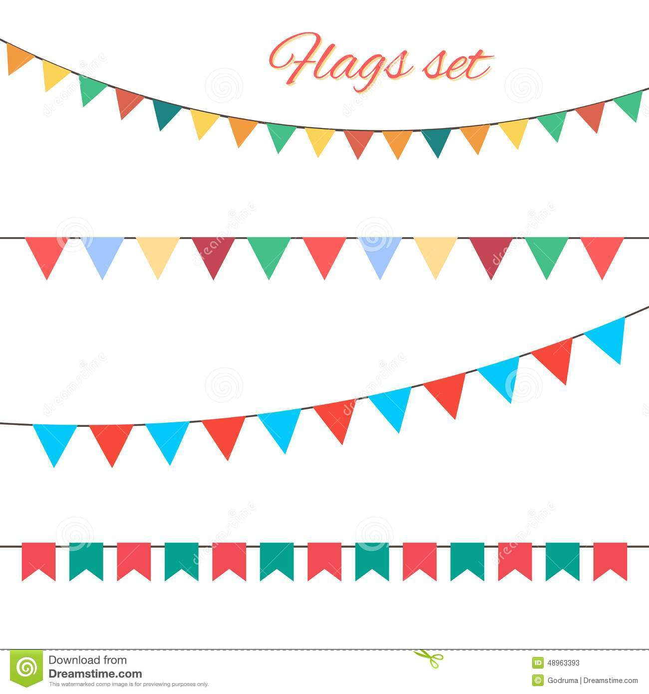 Flags Vector Set For Your Birthday Design. Stock Vector
