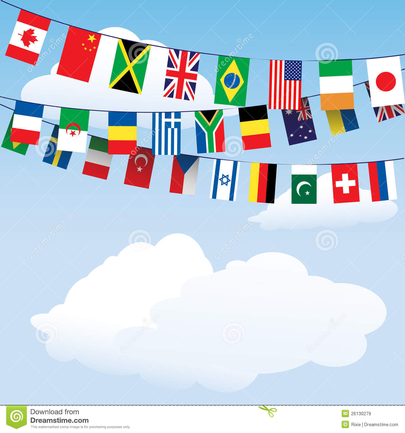 Flags Of The World Bunting Royalty Free Stock Images - Image: 26130279
