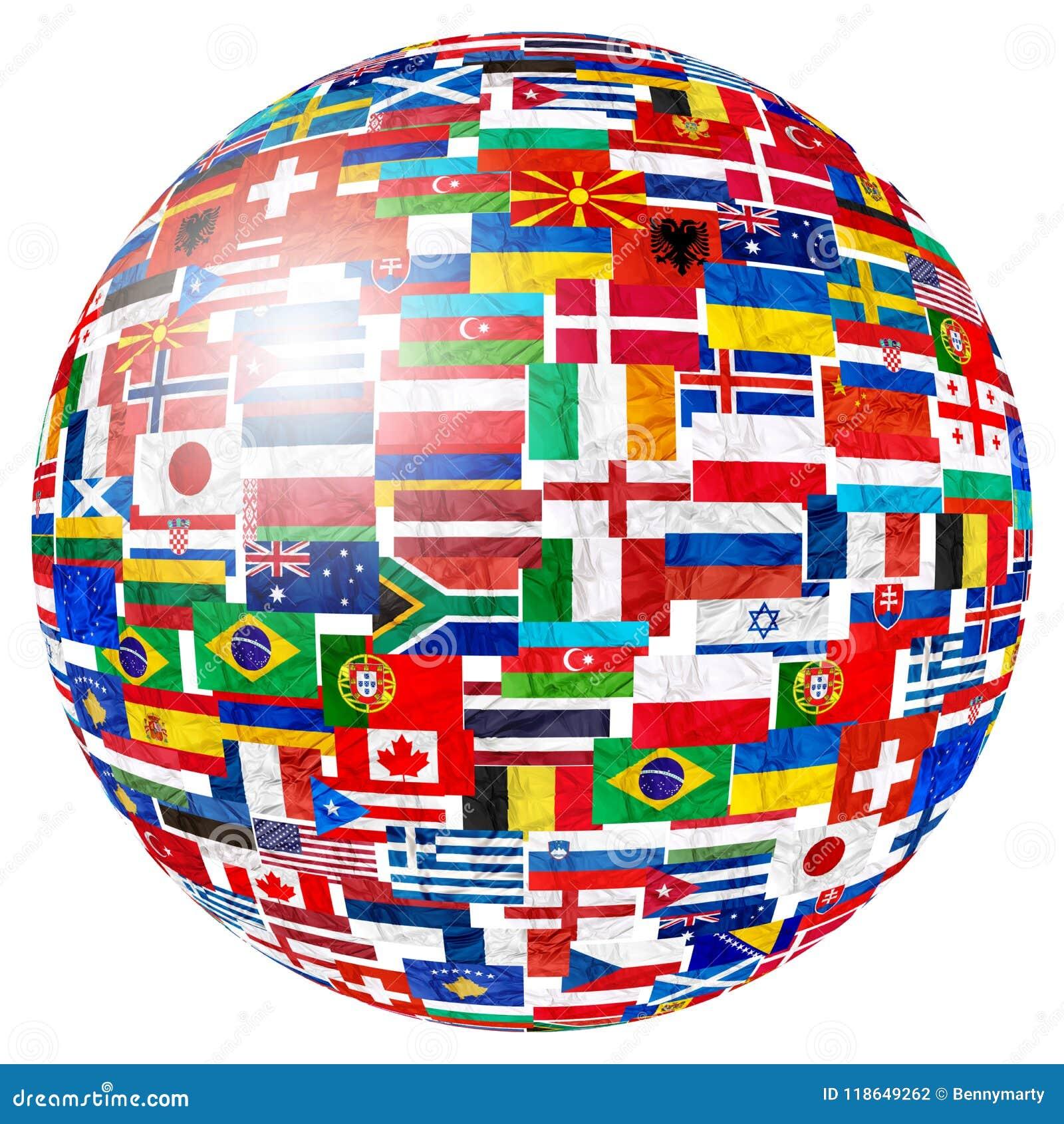 Flags of world globe