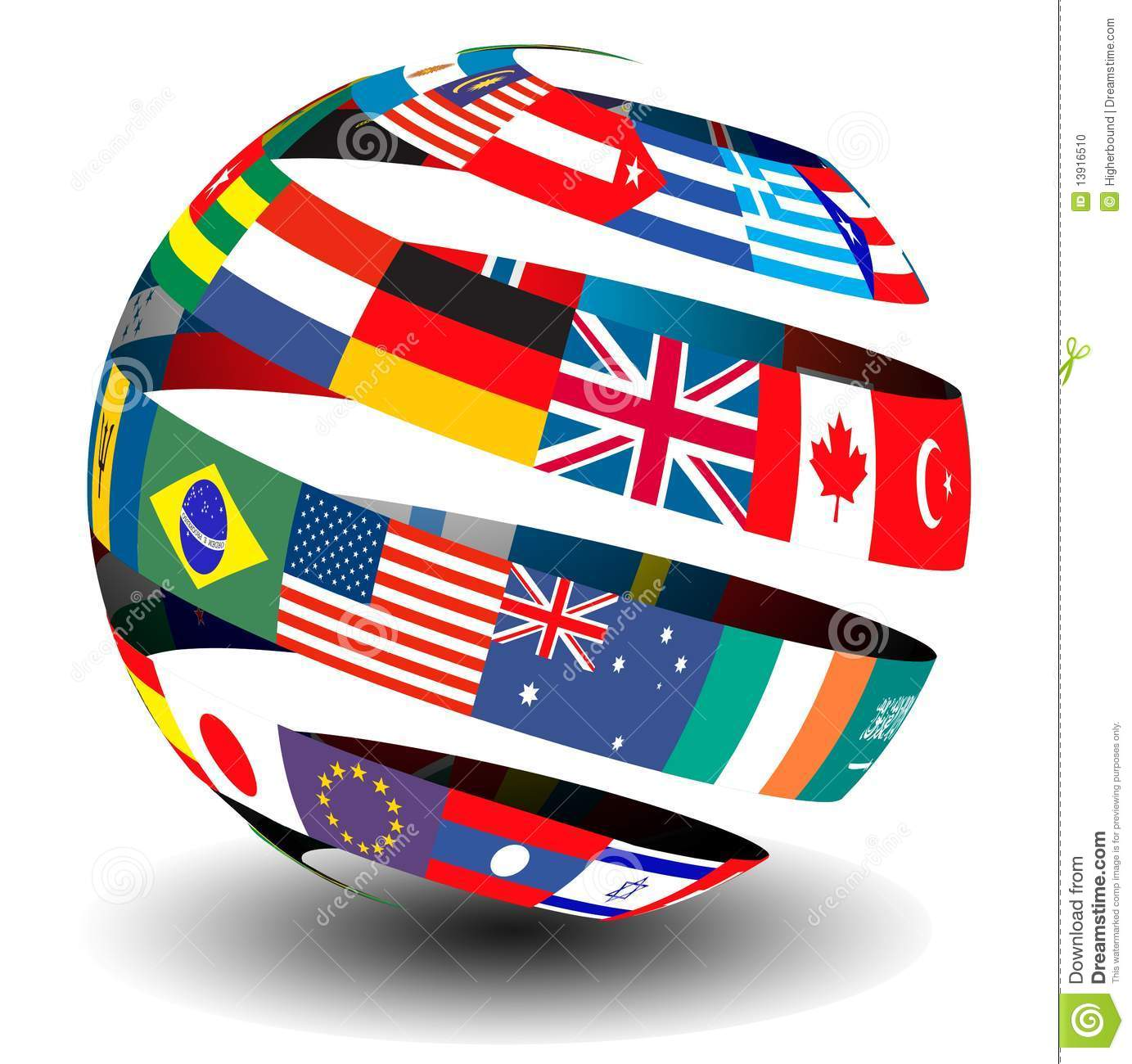 Flags Of The World In A Globe/ Sphere Stock Photo