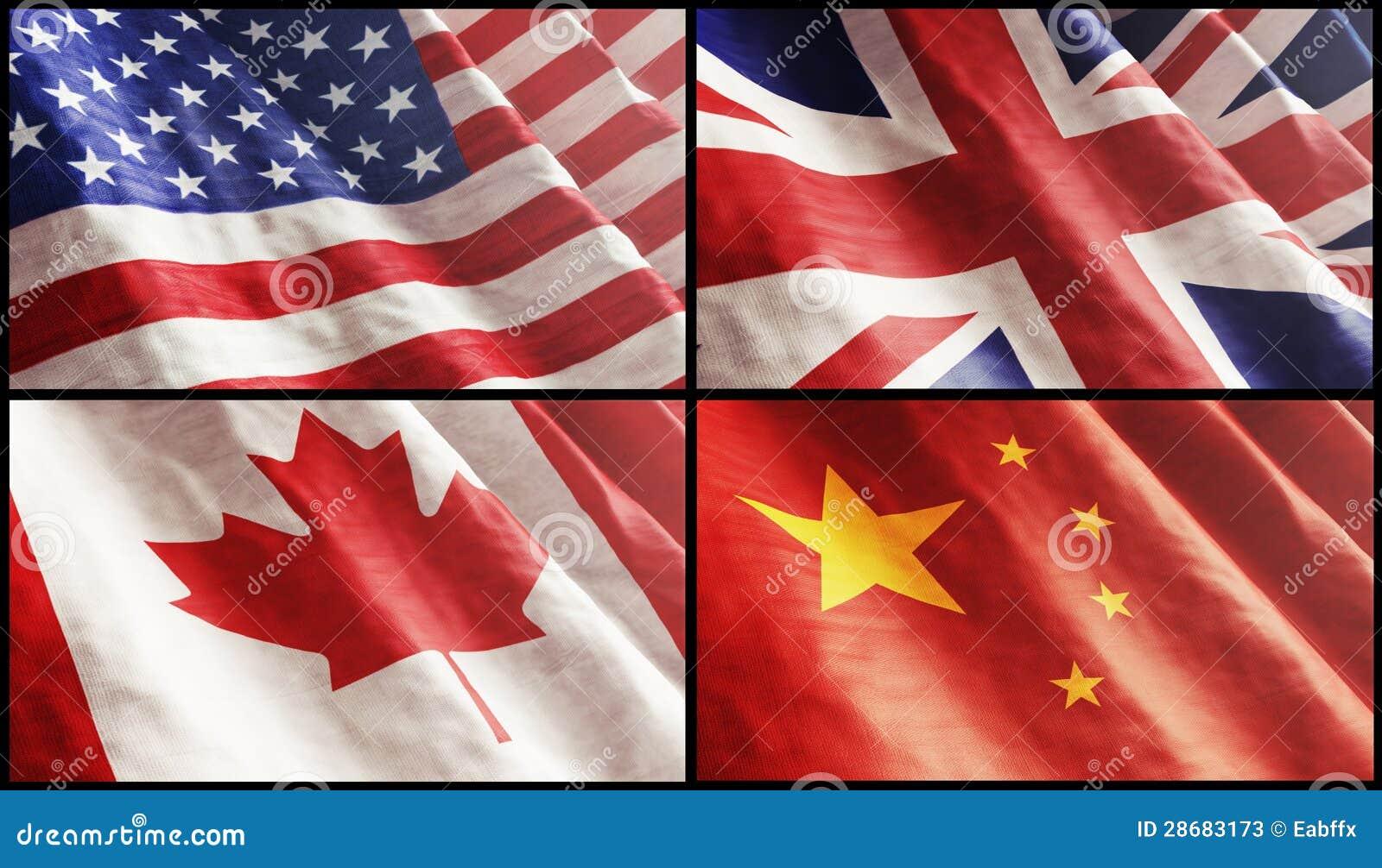 Flags XL USA England Canada And China Stock Photos