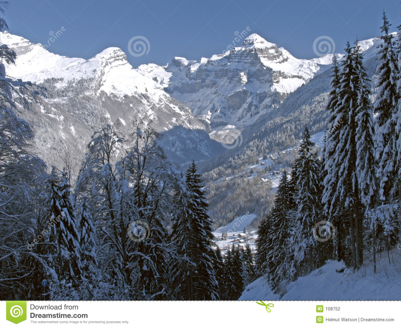 Download Flaine - Tree-lined Valley With Snow-capped Peak Stock Photo - Image of france, valley: 108752