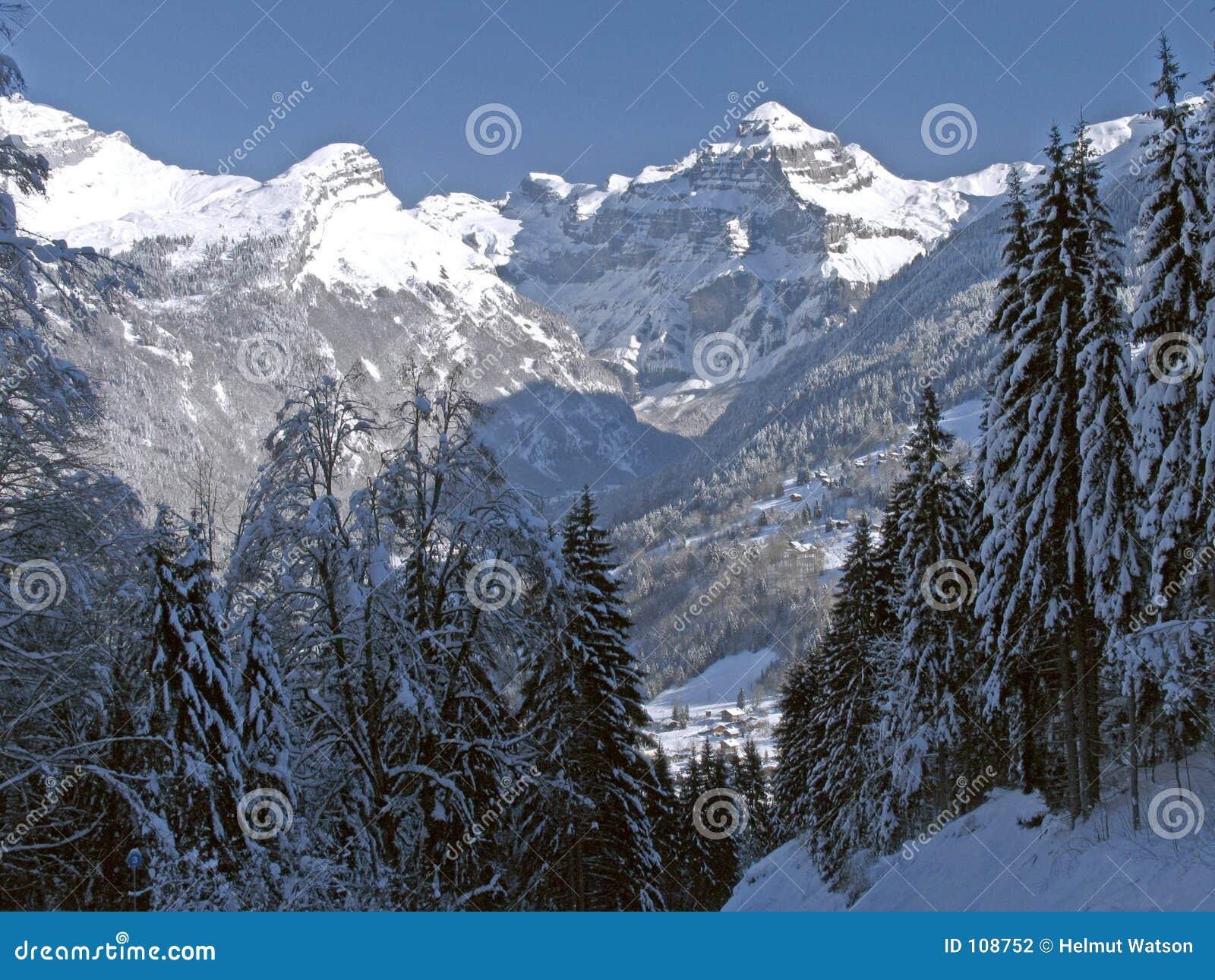 Flaine - vale Tree-lined com pico snow-capped