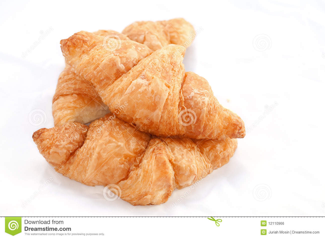 Flaky Croissants On White Background. Royalty Free Stock Image - Image ...
