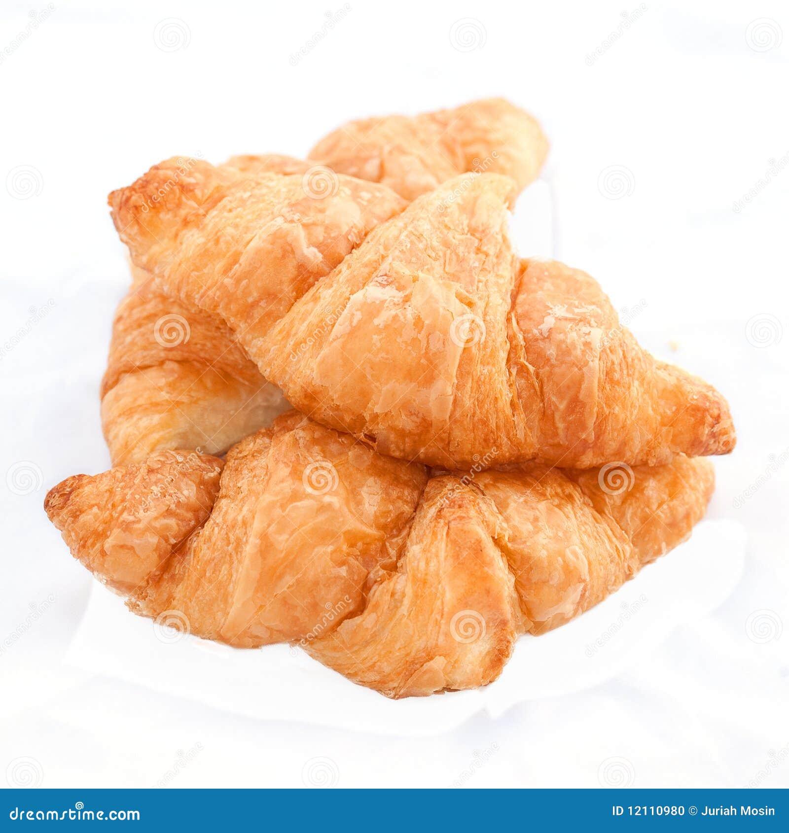 Flaky Croissants On White Background. Stock Photo - Image: 12110980