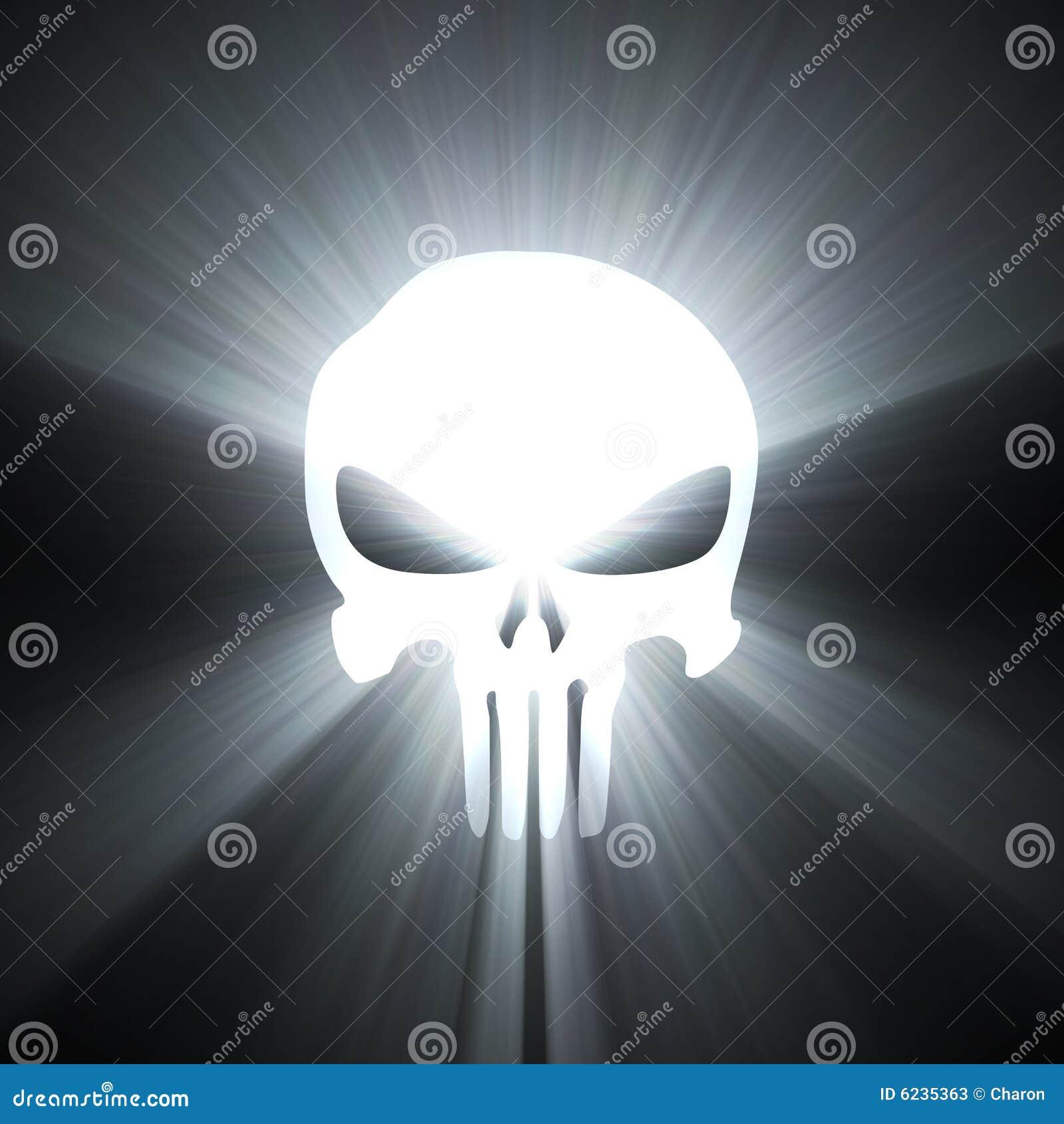 Flama de la luz blanca del símbolo del cráneo
