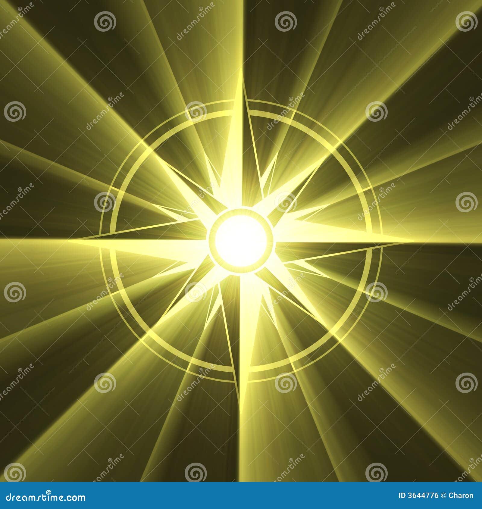 Flama del sol del símbolo de la estrella del compás