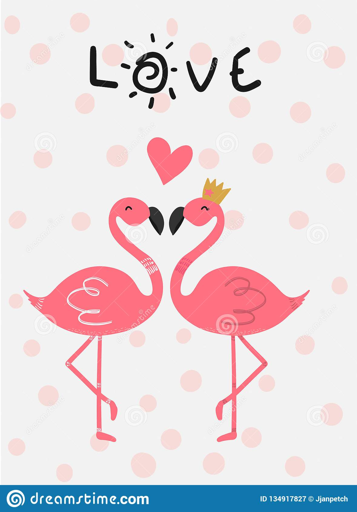flamant de rose de carte d 39 amour dans des baisers d 39 amour. Black Bedroom Furniture Sets. Home Design Ideas