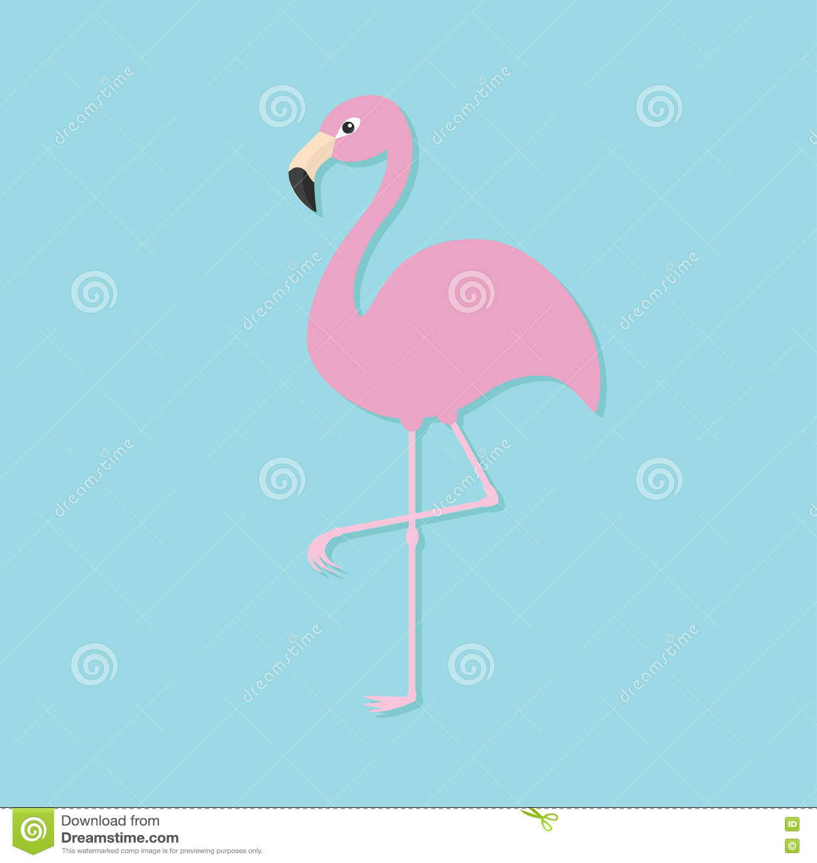 flamant rose sur une patte oiseau tropical exotique collection d 39 animal de zoo illustration de. Black Bedroom Furniture Sets. Home Design Ideas