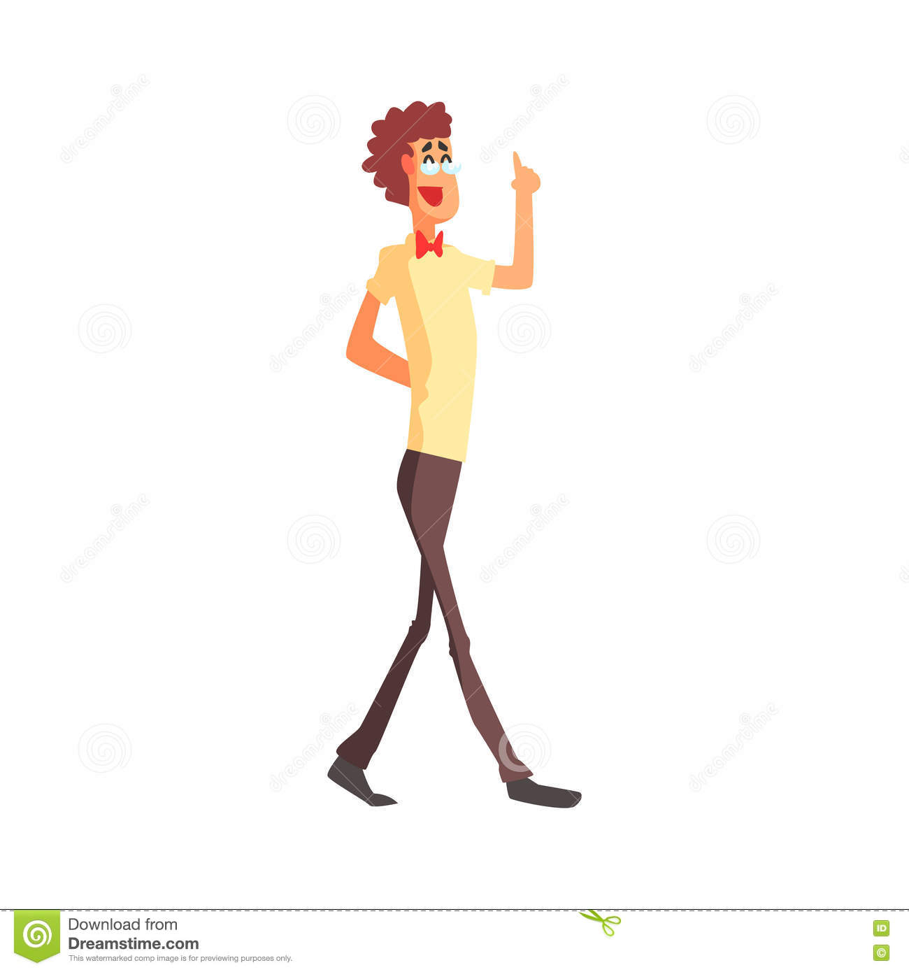 Flamboyant Thin And Tall Know-it-all Guy Character Stock ...