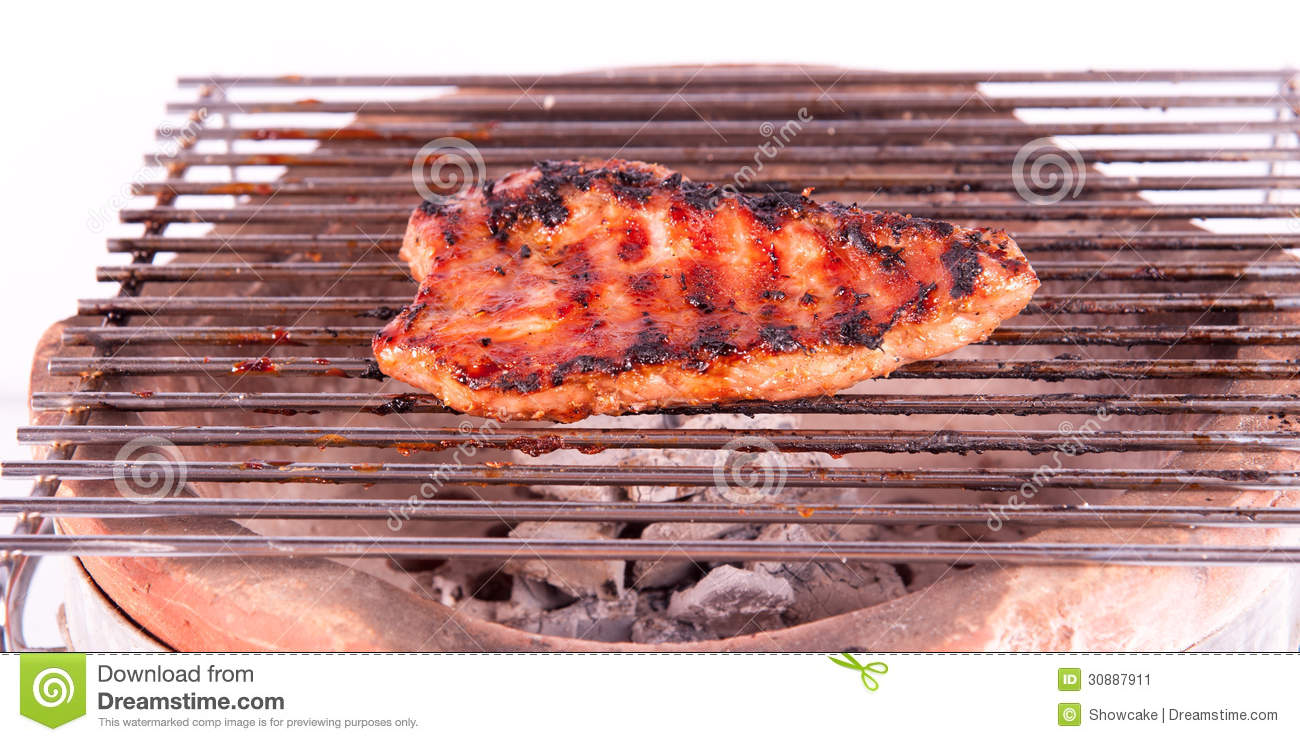 Flame Broiled Steak On A Grill Stock Image - Image: 30887911