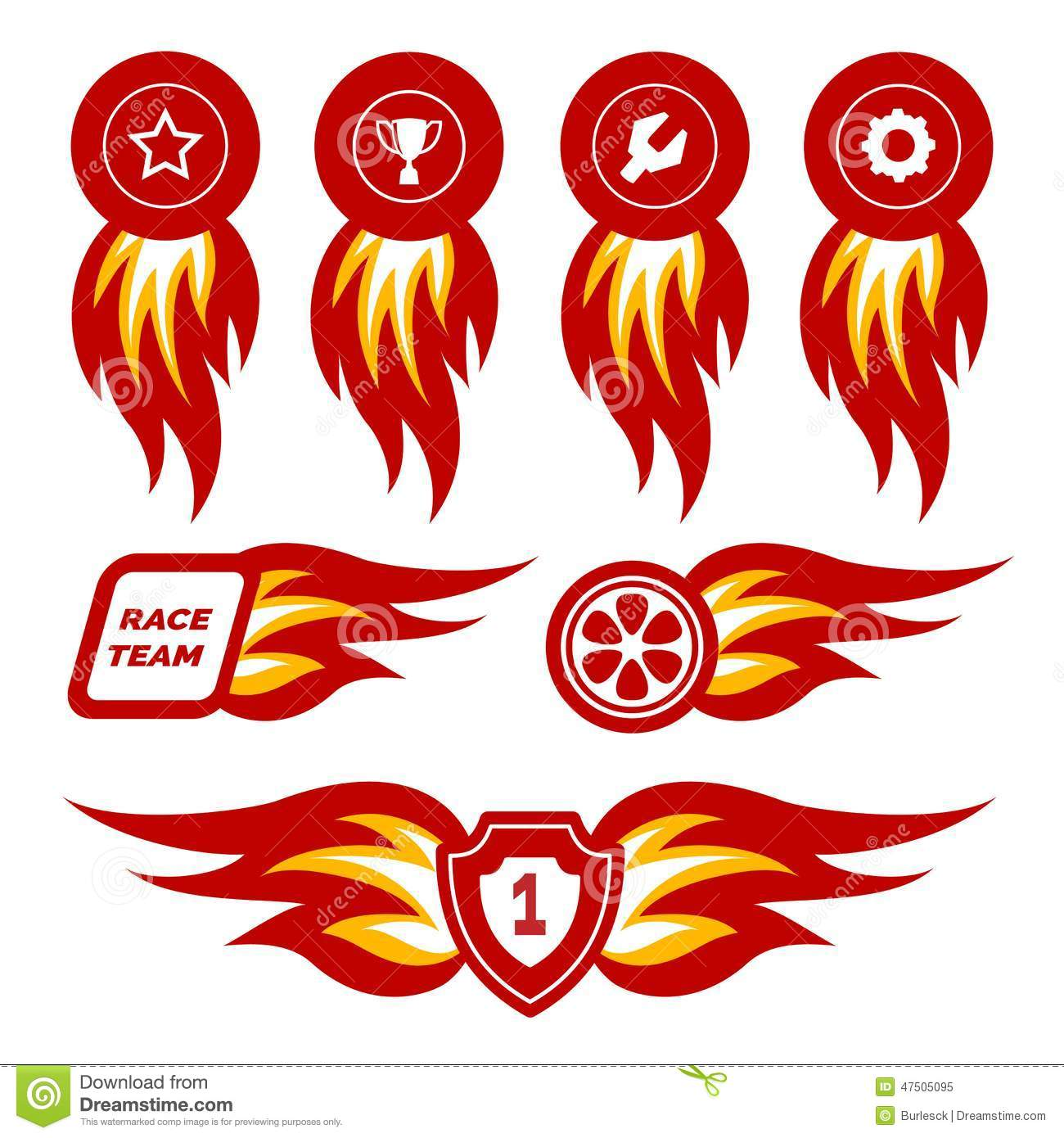 Car sticker design vector free - Flame Emblems Royalty Free Stock Photo