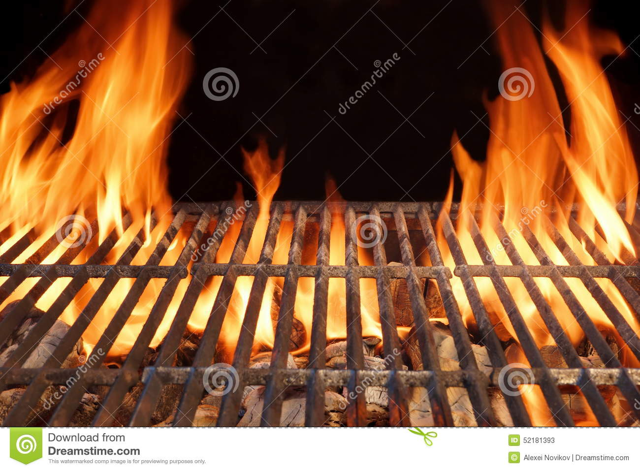 Flame Fire Empty Hot Barbecue Charcoal Grill With Glowing