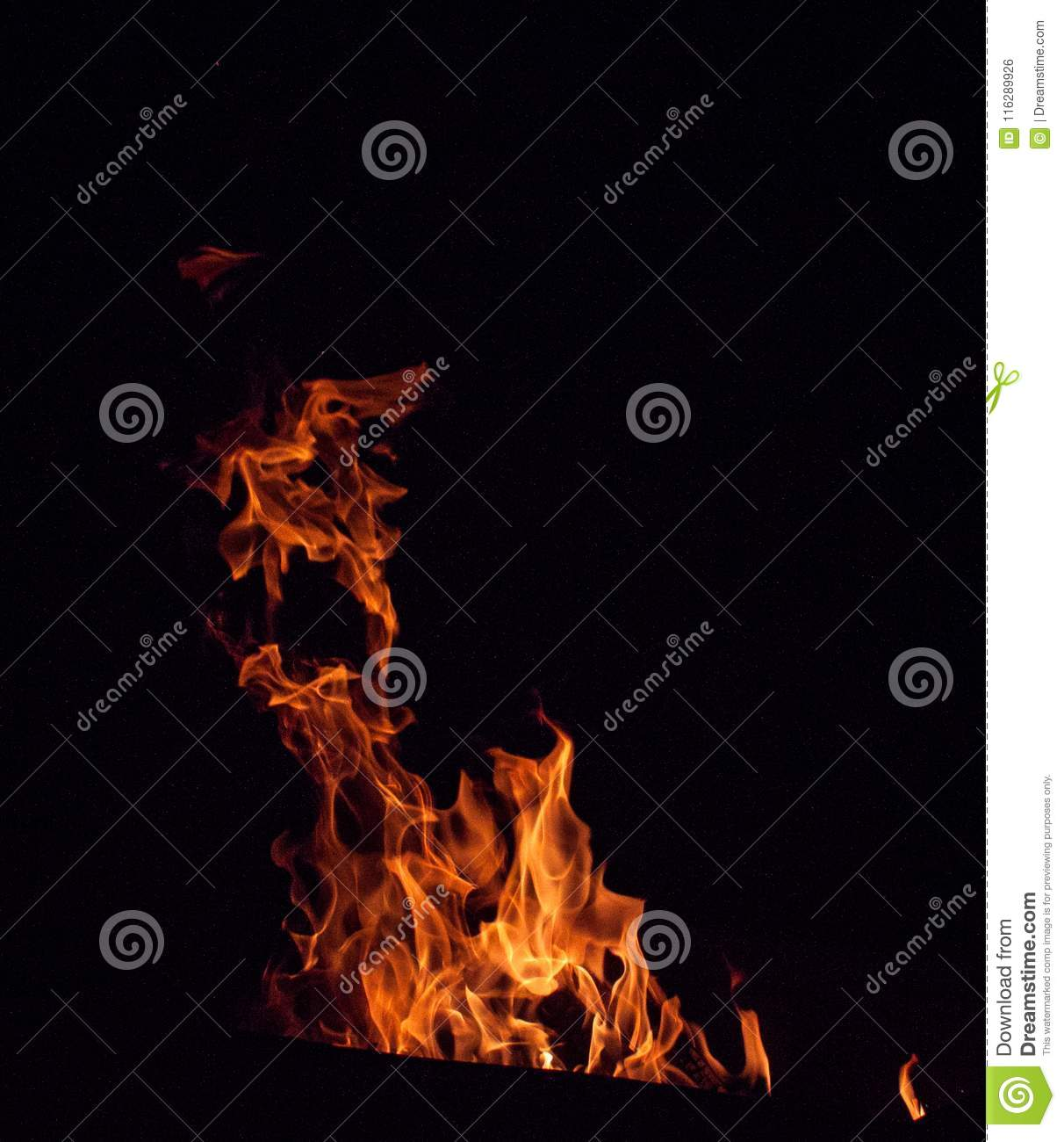 Abstract fire flame with black background