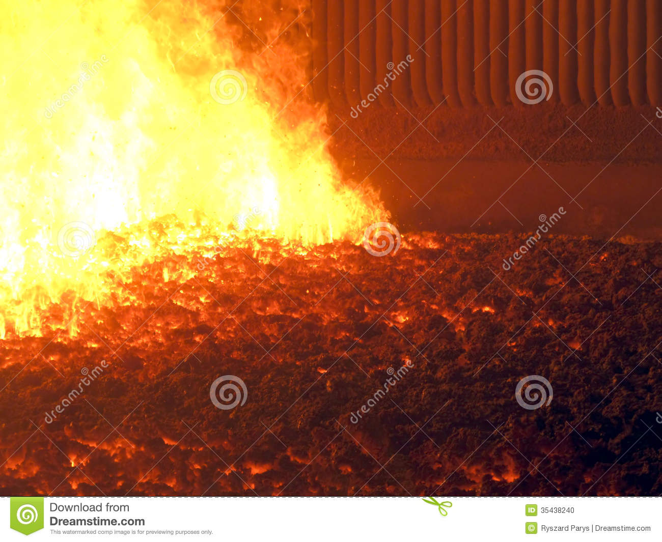 Flame And Hot On The Grate Coal Fired Boiler With A