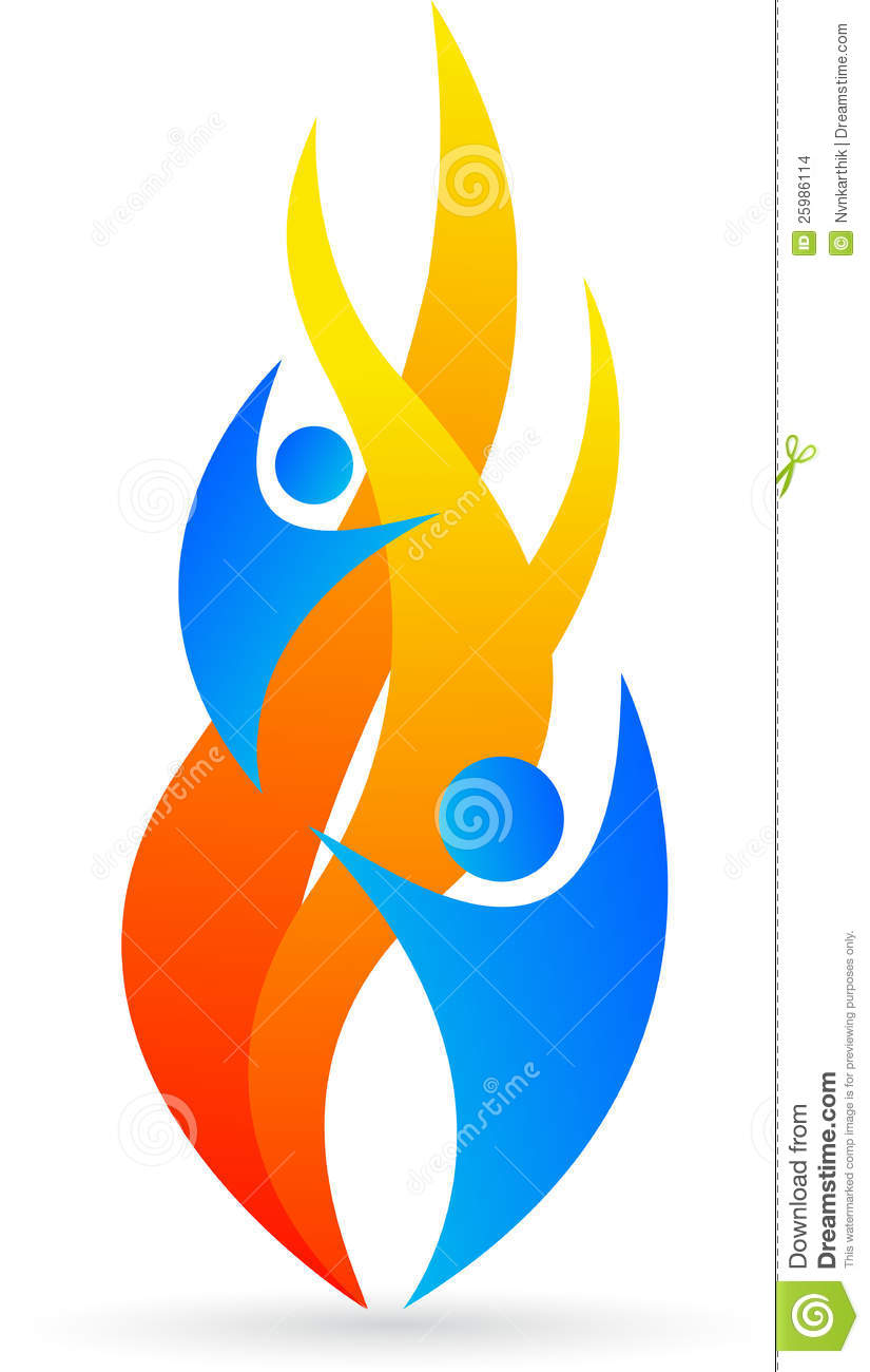 Illustration of flame logo design isolated on white background.