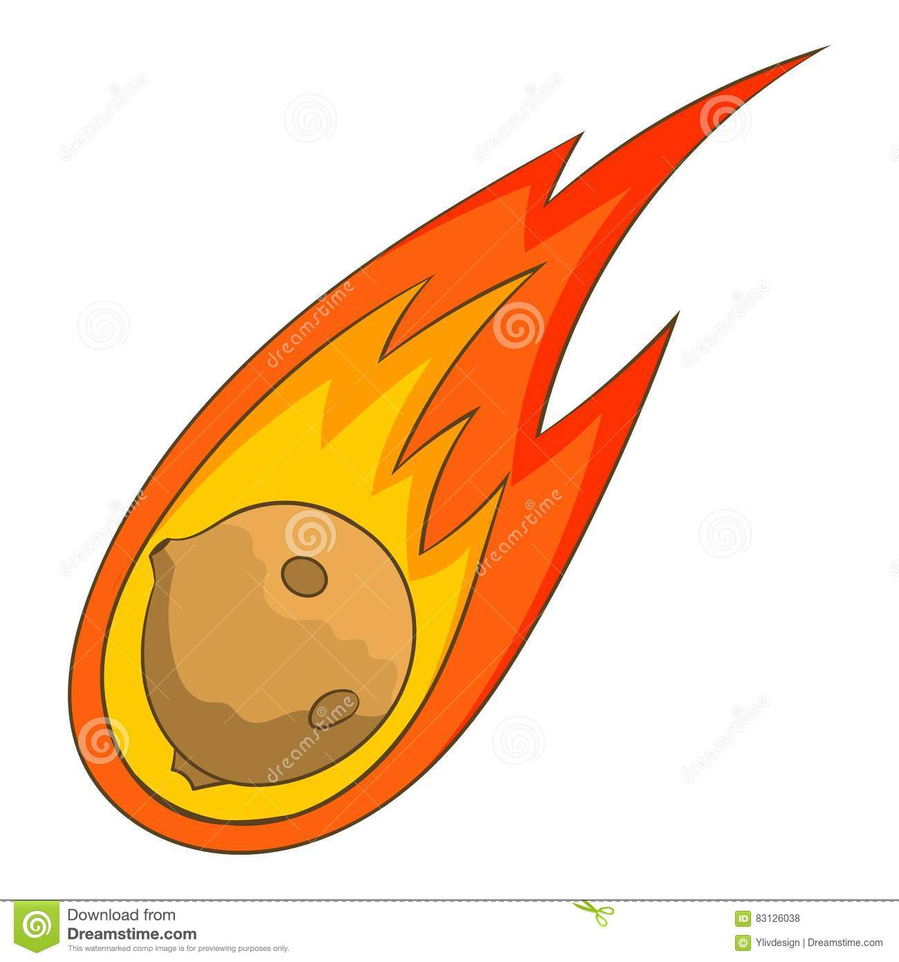 Flame Meteorite Icon, Cartoon Style Stock Vector - Image ...
