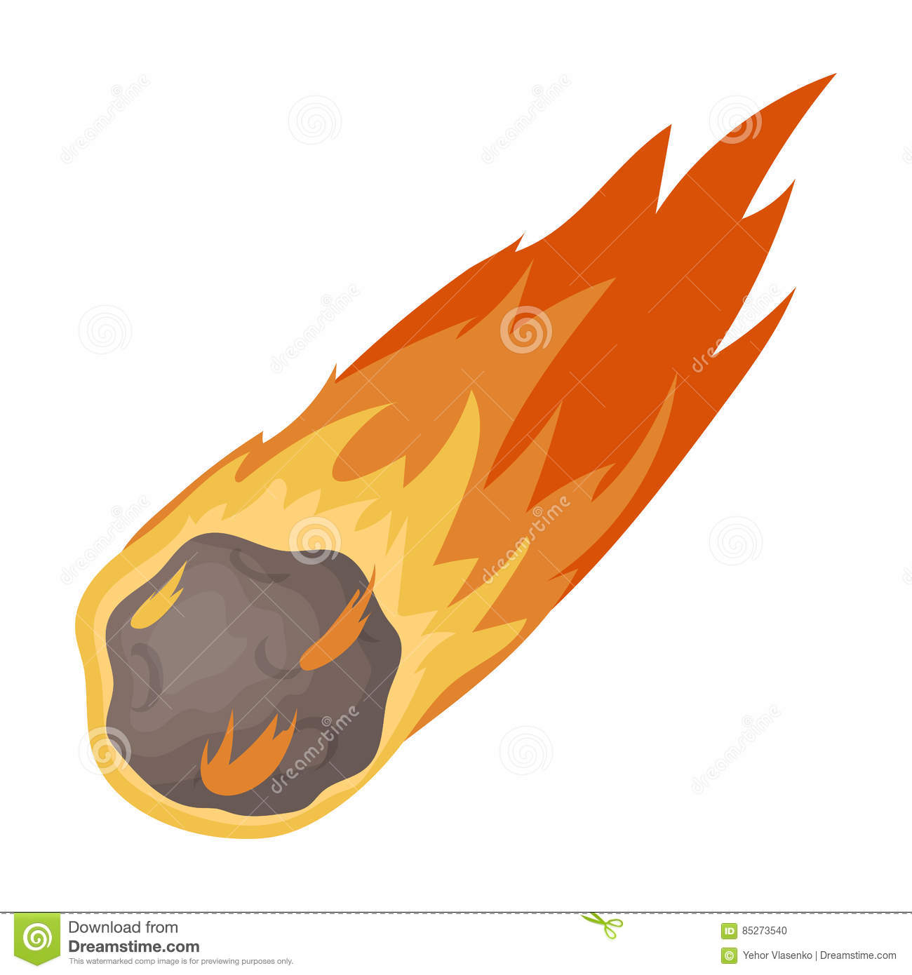 Flame Meteorite Icon In Cartoon Style Isolated On White ...