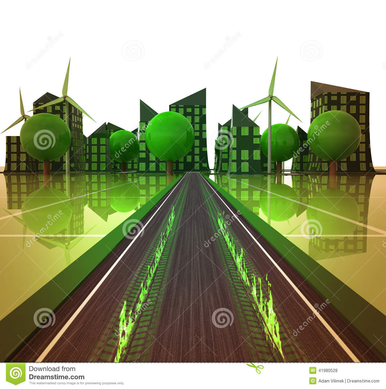 flame on the road to green powered city concept stock illustration