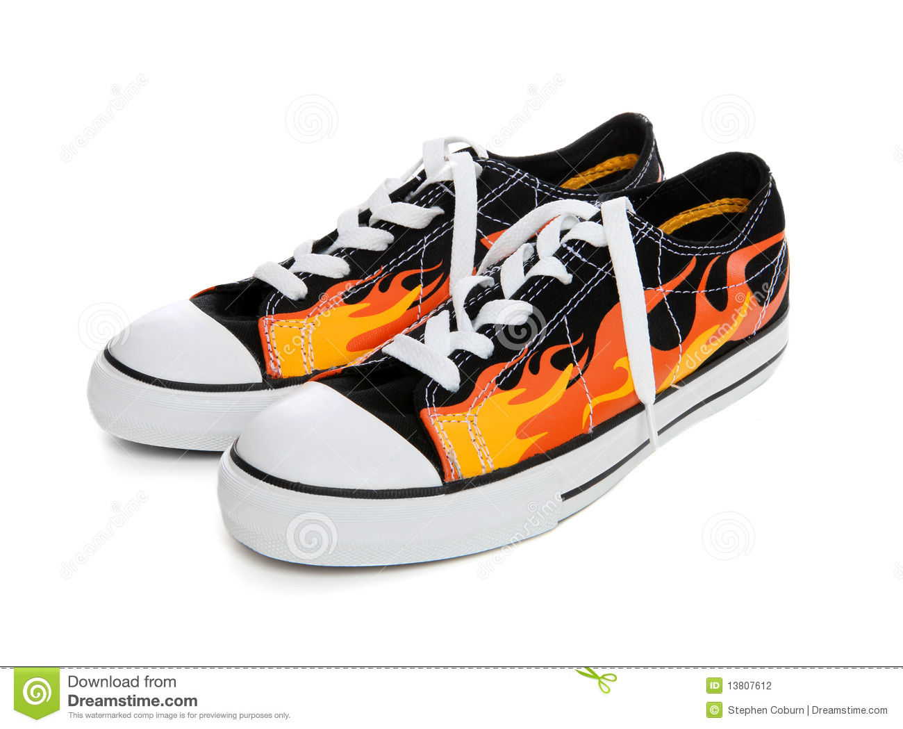 Flame Sneakers (Tennis Shoes) Stock Photography - Image: 13807612