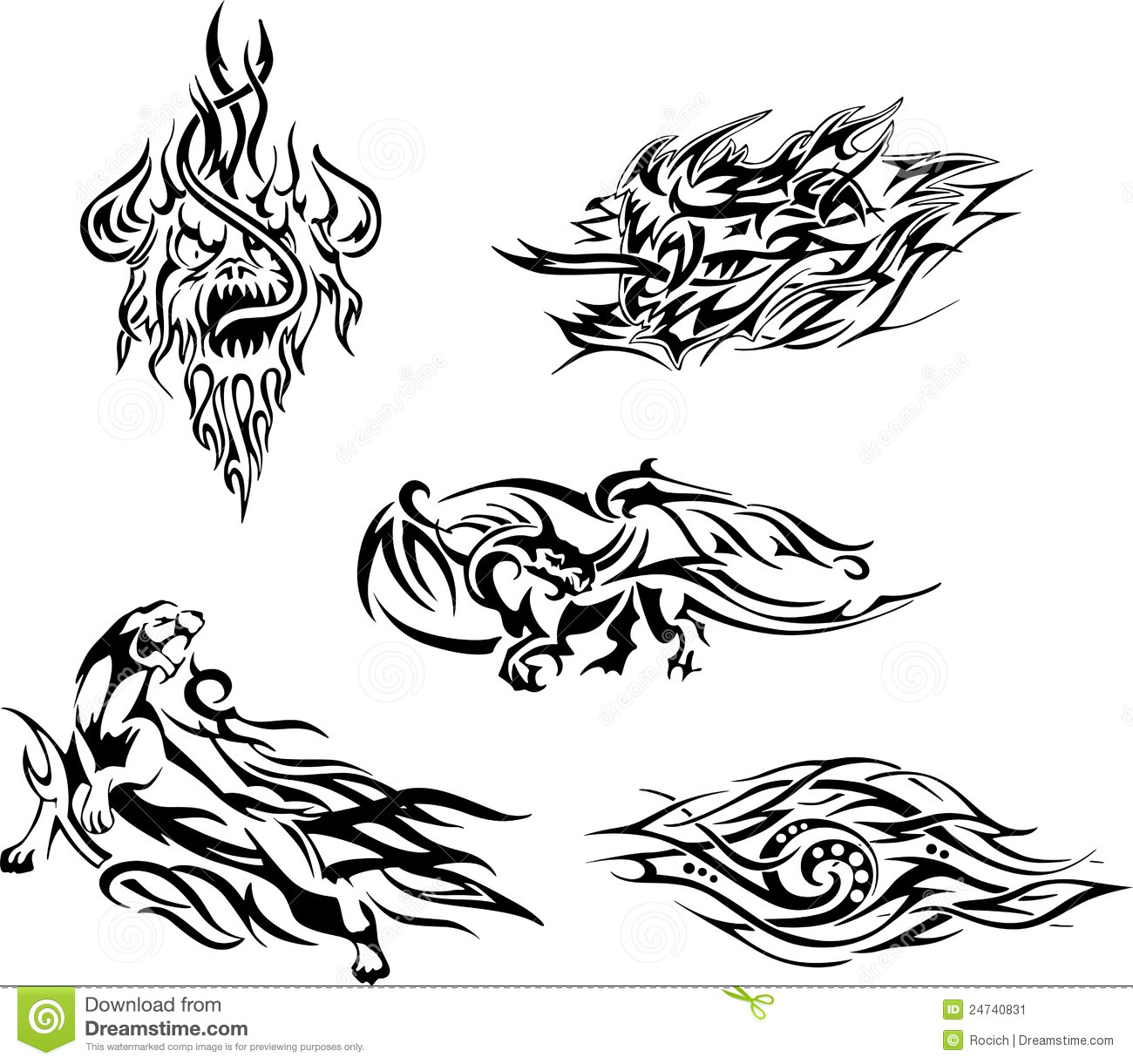 Flame tattoos. Set of black and white vector illustrations.