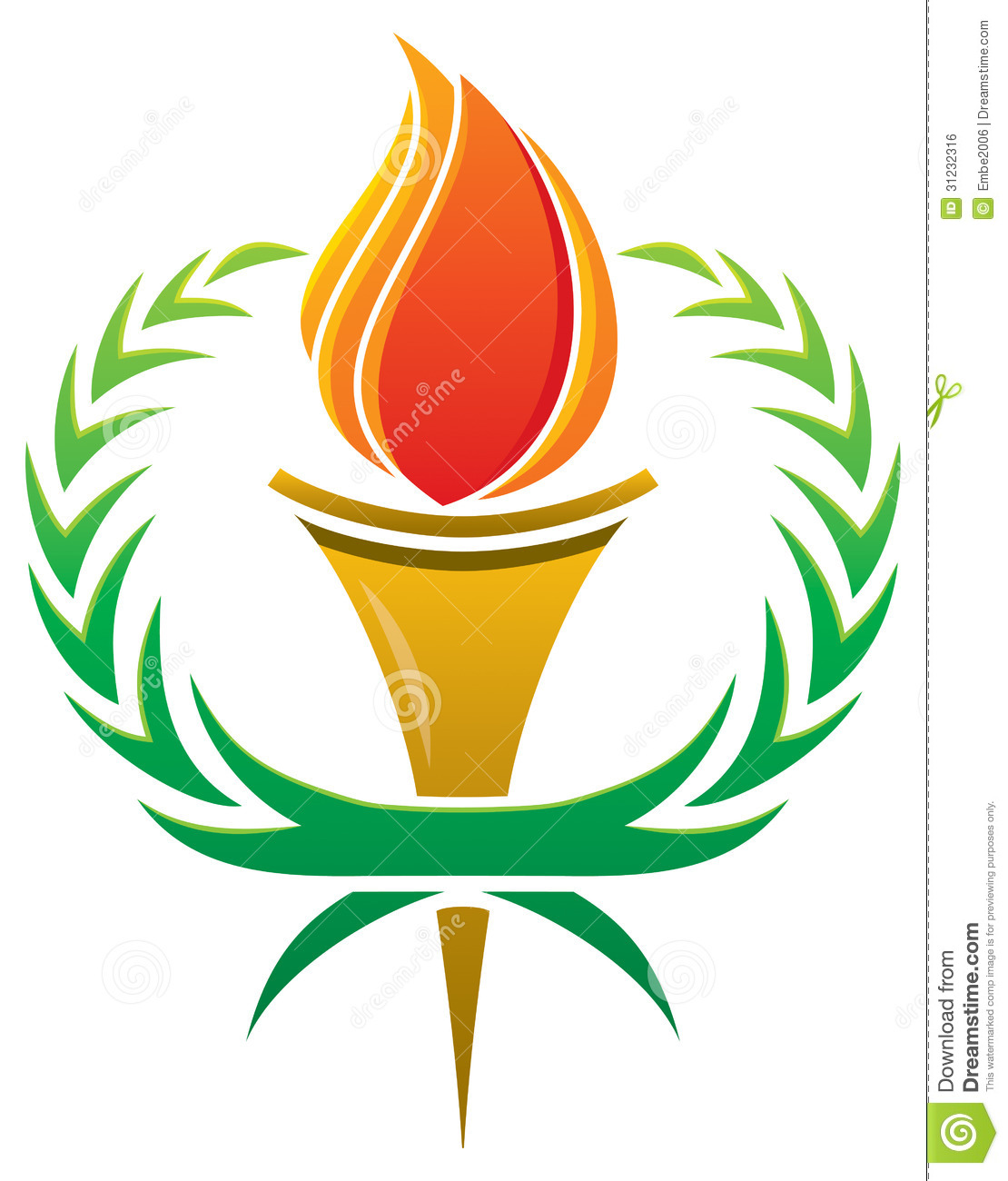 Flame Torch Logo stock vector. Illustration of laurel - 31232316 for Fire Torch Clipart  539wja