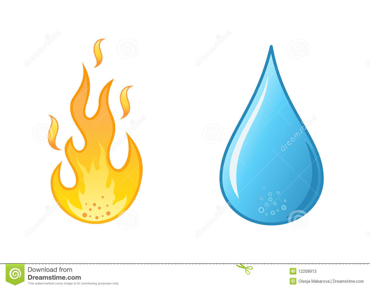 Flame And Water Drop On White Background Stock Photos ...