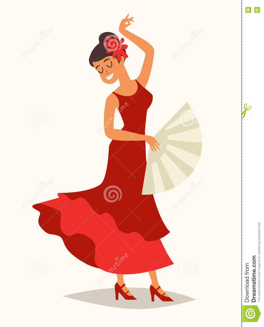 cad29fd6dd68 Flamenco dance vector illustration. Women in traditional red dress. Lady with  flamenco fan. Spanish dance, drawing card. Isolated on white background, ...