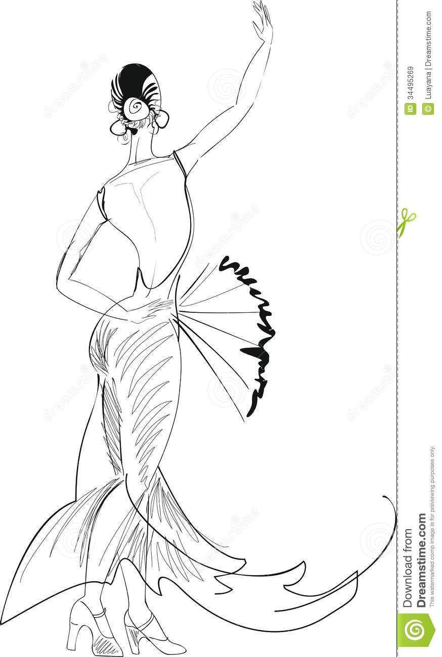 Spanish Dancer Coloring Page - Coloring Home | 1300x874