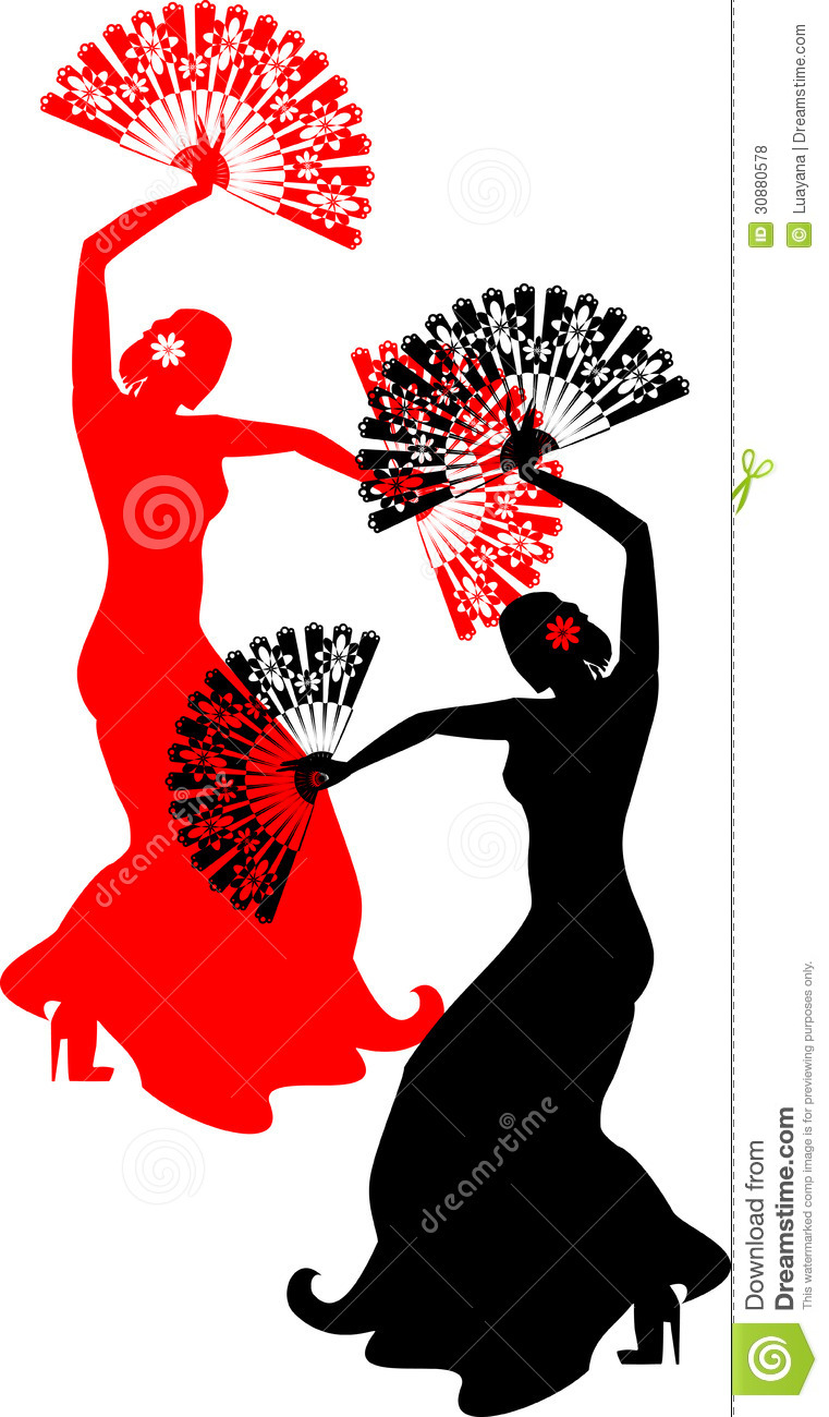 Flamenco Dancer With Red And Black Fans Royalty Free Stock Photos ...