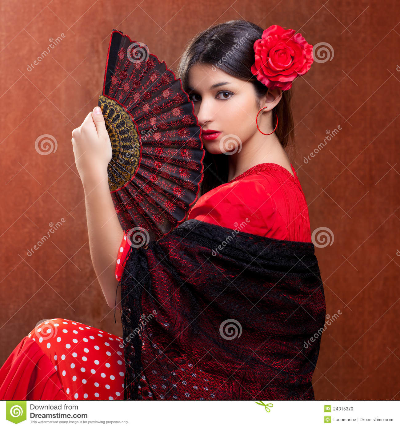 Flamenco Dancer Woman Gipsy Red Rose Spanish Fan Stock -6648