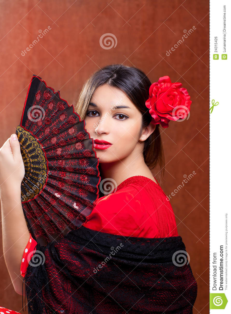 Flamenco Dancer Spanish Girl With Fan Cartoon Vector -6326