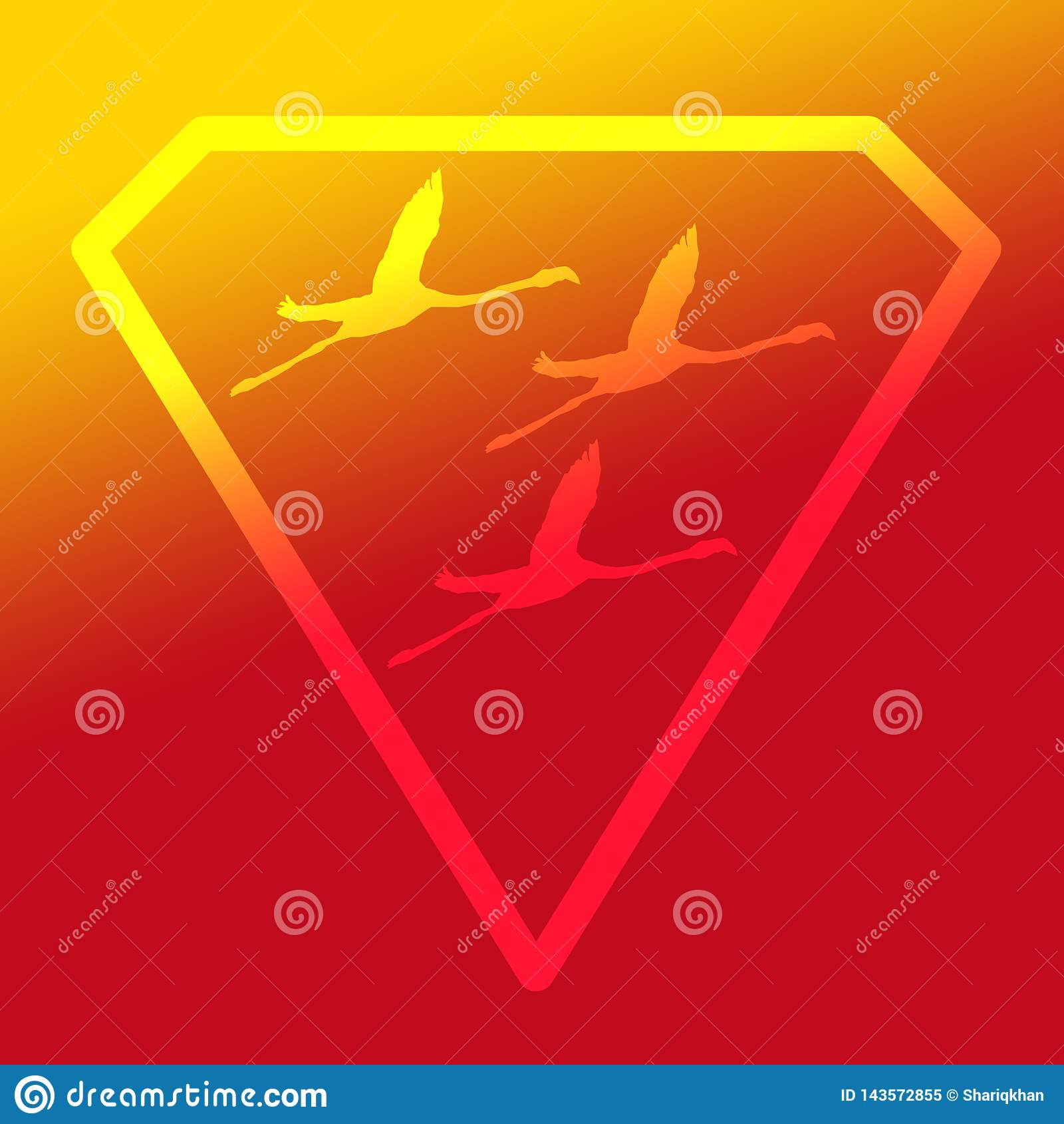 Flamenco de Logo Banner Image Flying Bird en Diamond Shape en fondo amarillo-naranja