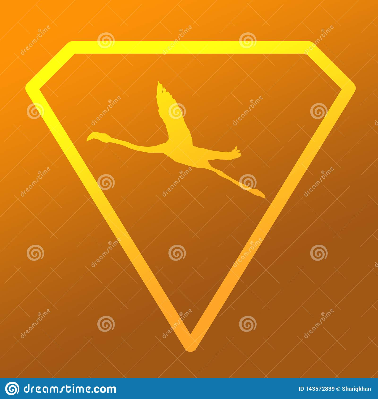 Flamenco de Logo Banner Image Flying Bird en Diamond Shape en fondo anaranjado de color caqui