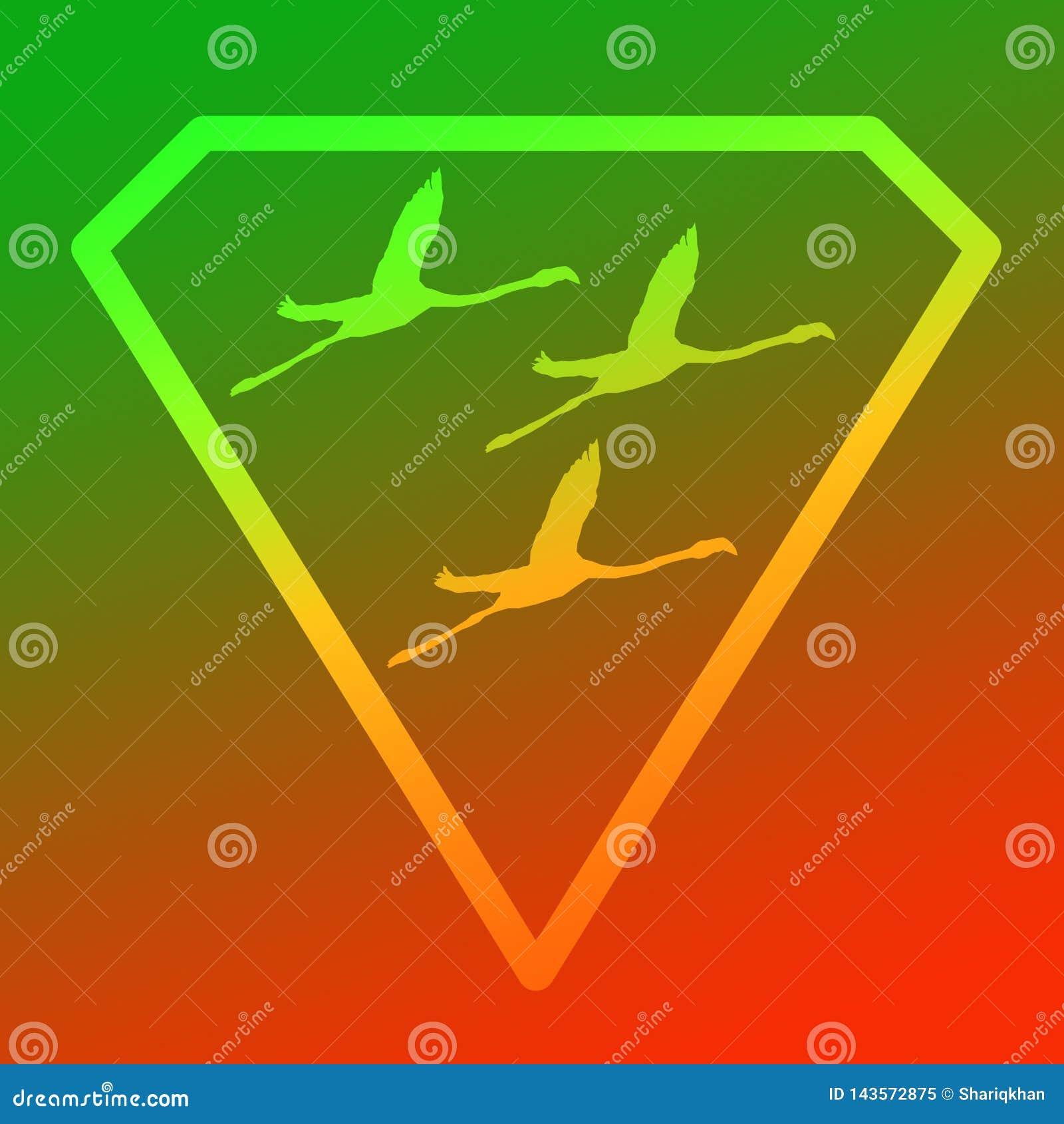 Flamenco de Logo Banner Image Flying Bird en Diamond Shape en fondo anaranjado verde