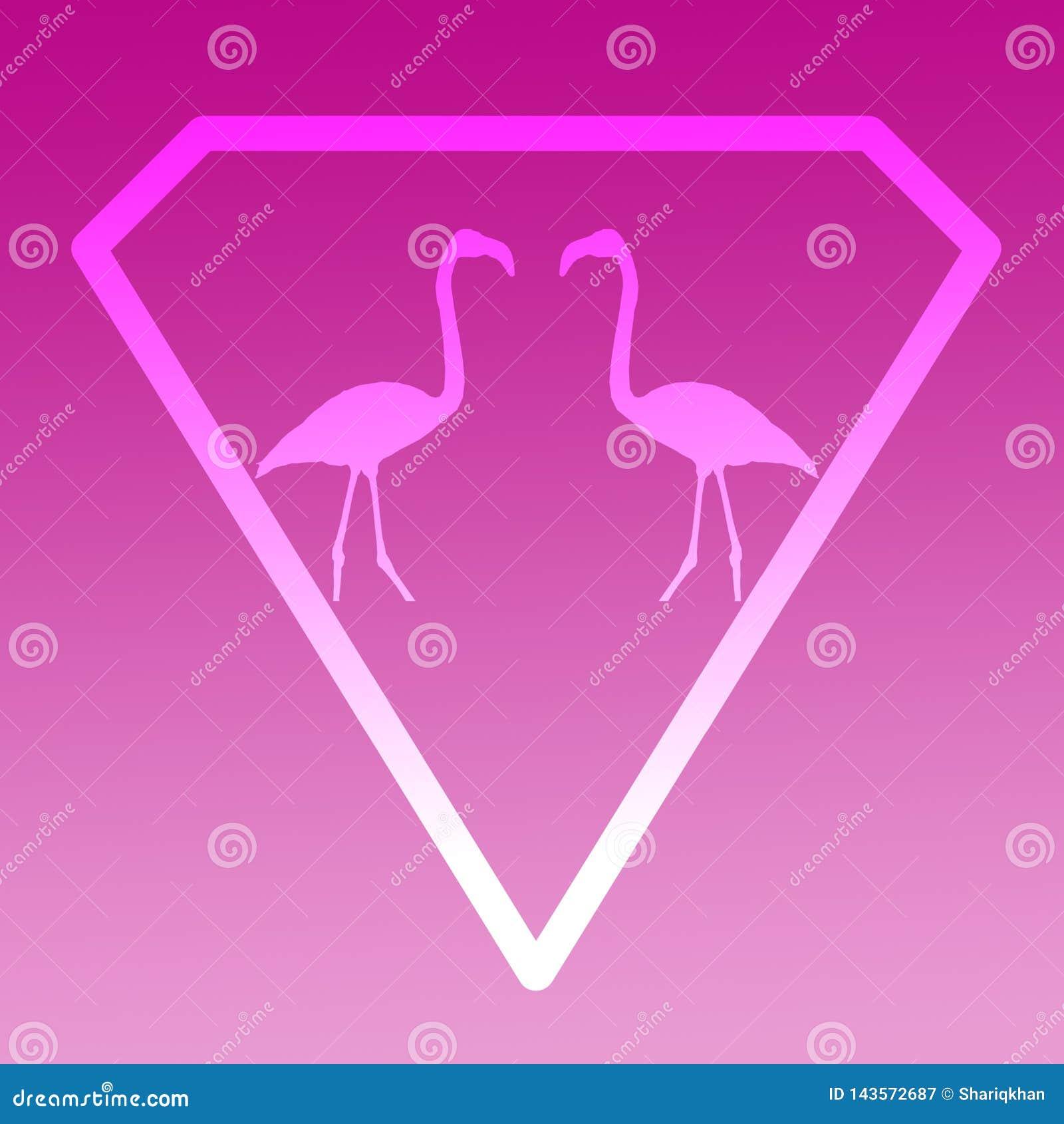 Flamenco de Logo Banner Image Flying Bird en Diamond Shape en fondo magenta