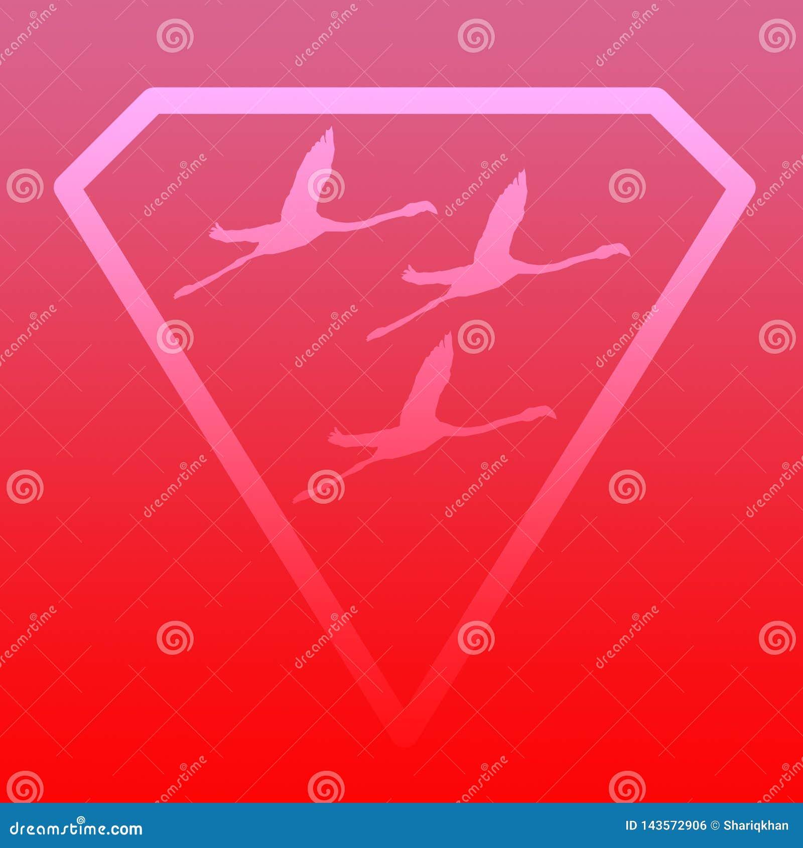 Flamenco de Logo Banner Image Flying Bird en Diamond Shape en fondo rosado