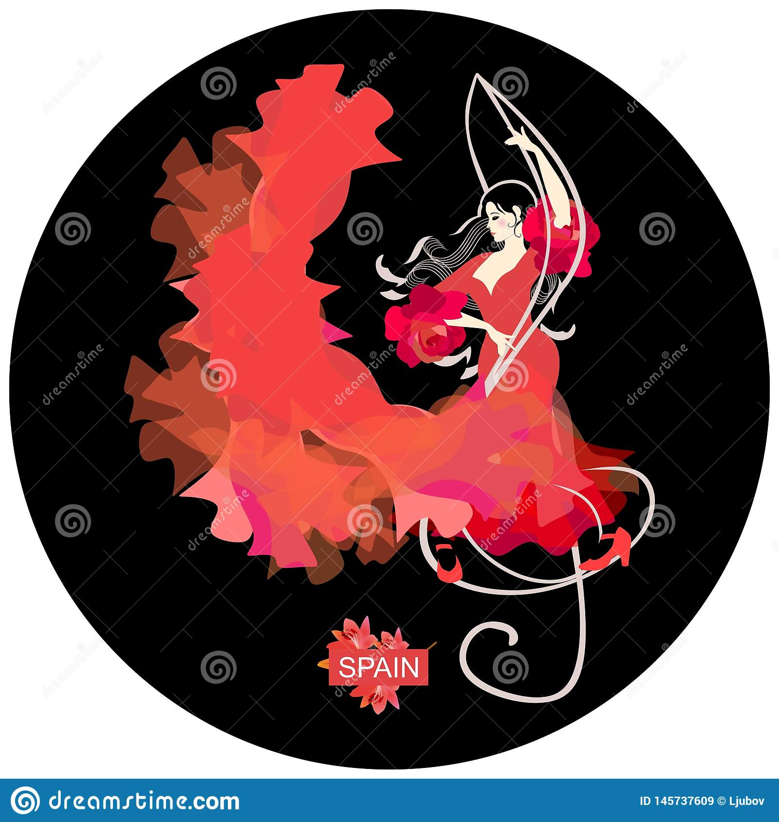 Flamenco logo round shape. Young Spanish woman with curls in form of musical rulers, dressed in traditional red dress, dancing