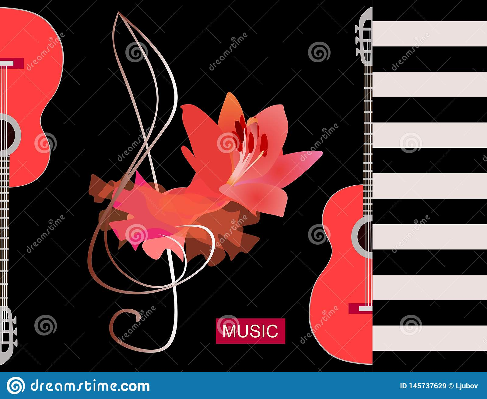 Flamenco musical logo. Luxury red piece of cloth, big lily flower and silhouette half of guitars on black background. Concert